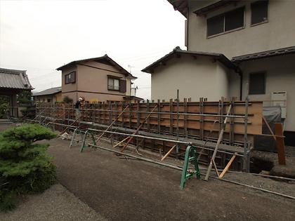 塀本体、漆喰部分の型枠